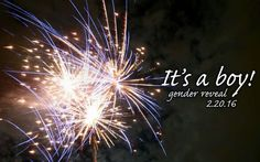Fireworks gender reveal! Baby Smith 2016.