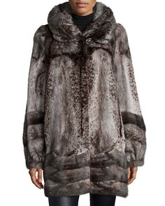 Funnel-Neck Mink Fur Coat
