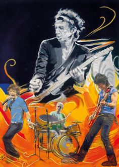 The Famous Flames - Wah Wah - Boxed Canvas Edition - 2011 - La Collection Ronnie Wood - Art - Castle Galleries The Rolling Stones, Ronnie Wood Art, Rock N Roll, Ron Woods, Decoupage, Greatest Rock Bands, Rock Posters, Concert Posters, Stone Art