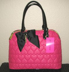 Betsey Johnson Hot Pink Purse Quilted Heart Be Mine Dome Satchel Tote Bag | eBay