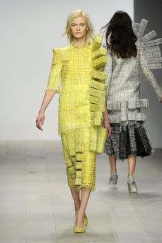 Wearable Sculpture - dress with soft 3D blocks seamlessly stitched into the surface - architectural fashion design; fashion as art // Hellen van Rees