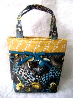 """Quilted Tote """"Colonel Mustard"""" - handmade cotton tote on Etsy, $30.53"""
