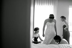 Beautiful bride and her bridesmaids getting ready at Le Meridien Arlington. Photograph by Spiering Photography.