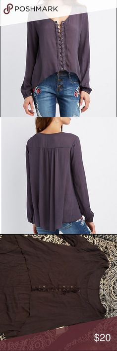 NEW Purple grey lace up high low top. Size XL Purple grey lace up high low top still has tags on. Looks more like website picture took in my room with bad lighting. MAKE AN OFFER Tops