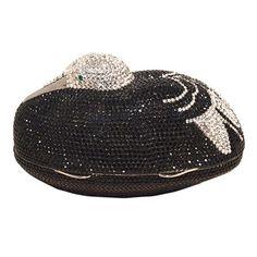 e71488335 Judith Leiber Black and Silver Swarovski Crystal Sitting Duck Minaudiere