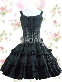 Black Ruffles Sash Bow Cotton Gothic Lolita Dress