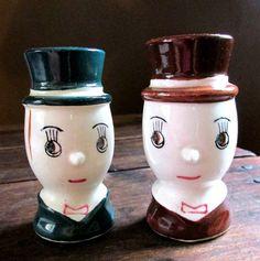 Vintage Japan top hat egghead salt and pepper by wonderdiva