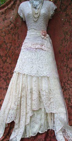 Crochet lace dress mermaid boho wedding dress by vintageopulence