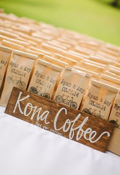 Coffee bean wedding favors, customized bags // What a Day! Photography
