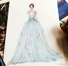 Fashion Design Drawing Eris Tran Gown Designs - The collection of gown designs by fashion illustrator Eris Tran showcase the artist's avant-garde approach to traditional dress design. Dress Design Sketches, Fashion Design Drawings, Fashion Sketches, Dress Designs, Fashion Drawing Dresses, Fashion Illustration Dresses, Fashion Dresses, Fashion Illustrations, Fashion Moda