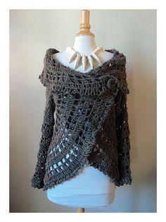 Bonjour! Voici ma version du gilet rond de chez Drops qui s'est fait en CAL chez notre amie Disou (clic) : Taille S/M Le mien est kaki en laine DEMET (70 % acrylique, 30% laine) Crocheté en double avec un N°6. 2 lots de laine sont nécessaires pour faire...