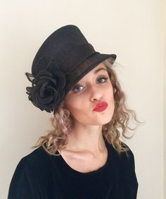 Your place to buy and sell all things handmade Black Bucket Hat, Black Church, Vintage Inspired Fashion, Royal Ascot, American Horror, Kentucky Derby, Black Velvet, Vintage Black, Vintage Dresses