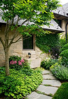 © Planters Garden and Jeremy Smearman. Highlands, NC, Bowery Rd. -- Jeremy Smearman, Keith Summerour, Split rail row, Cotswald cottage. slate roof, Fond du Lac stone, limestone troft, bronze spigot, yellowwood, pachysandra, catnip, hydrangea, foamflower, Boston ivy, mazus, fescu, copper path light -- Photo is the property of Planters Garden, Jeremy Smearman or is being used under liscense agreement with the owner. All Rights Reserved.