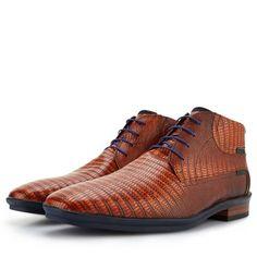 - Floris van Bommel cognac lace boot with lizard print Leather Shoe Laces, Leather Boat Shoes, Leather Moccasins, Leather Sneakers, High Shoes, Men S Shoes, Black Shoes, Mens Shoes Online, Business Shoes