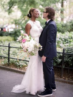 The Most Stunning Wedding Photos of 2016 | Brides When actress Patina Miller (of The Hunger Games fame!) married David Mars, the bride knew she and her handsome groom would throw a southern-meets-city wedding in Long Island City, New York. Naturally, the pair had to show off their great sense of style, which Timwill Photography captured throughout the day. We'll never forget this fashionable portrait, showcasing the groom's Lanvin sneakers and the bride's figure-hugging Monique Lhuillier…