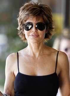 Spec-tacular: The instantly recognisable actress turned heads despite wearing a pair of sunglasses Lisa Rinna looked so pleased after she got her hands on a cup of coffee in Los Angeles on Monday Short Shaggy Haircuts, Sassy Haircuts, Short Shag Hairstyles, New Haircuts, Short Hairstyles For Women, Shaggy Short Hair, Haircut Short, Short Pixie, Pixie Haircut