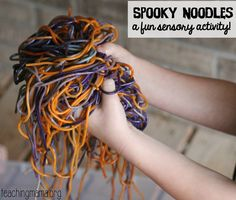Have fun this Halloween with this spooky noodles sensory activity!