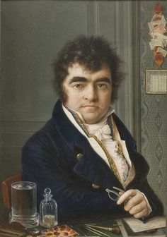 Miniature self-portrait, by Louis-Marie Autissier. In the foreground, the artist's pencils, brushes, and tools for painting miniatures can be seen.
