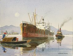 "Tramp Freighter | WEST TEXAS in China"" - watercolor, in Tramp Freighter Paintings"