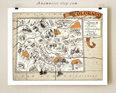 VINTAGE COLORADO MAP - size & color choices - personalize it - picture map to frame - perfect wedding or housewarming gift - fun wall art