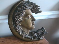 Crescent Moon Womans Face Antique Bronze Patina Hollywood