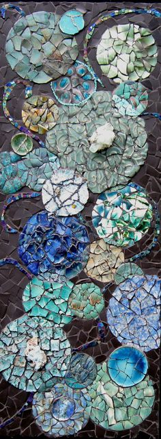 """35"""" x 13.5""""  Recycled Pottery, semi precious stones, beads, glass  Currently showing @ Sunrose Gallery, 606 Broadway Street, Seaside, OR 97138-6820"""