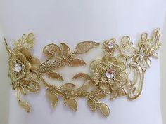 Gold Lace sash, Floral wedding sash, Bridal gown sash, Rhinestone sash, Jeweled sash, Flower sash, Dress sash, Bling belt, Beaded sash belt