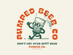 Pumped Beer Merch Kickstarter Brewery designed by Lucas Jubb. Connect with them on Dribbble; Cartoon Style, Cartoon Logo, Retro Illustration, Graphic Design Illustration, Business Logo, Business Card Design, Stationery Design, Branding Design, Brewery Design