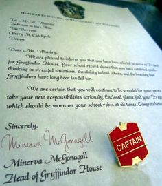 Quidditch Captain Letter with Captain Badge / Pin Personalized for a Witch or Wizard