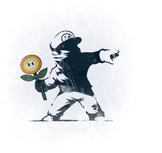 Banksy Mario Would love to have our brand of street art brought into the space. Banksy Tattoo, Art Banksy, Graffiti Art, Bansky, Fire Flower, Geniale Tattoos, Stencil Art, Video Game Art, Cultura Pop