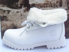 Women Roll-Top Timberland Boots WHITE2