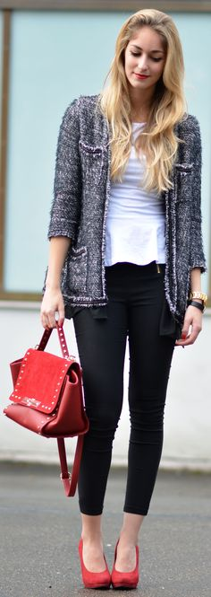 Outfit ideas. Charcoal jacket. White peplum top. Black pants. Red bag/ pumps. Mango Chanel-Inspired Jacket