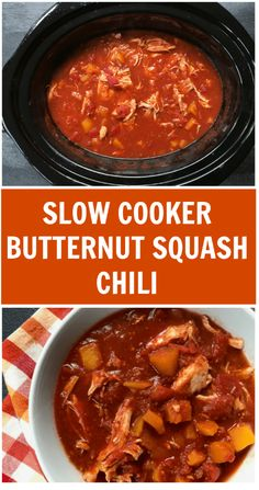 This butternut squash chili recipe is made with chicken breasts, butternut squash, and classic chili seasonings, which come together to make one hearty and delicious weeknight meal! Easy Soup Recipes, Good Healthy Recipes, Chili Recipes, Slow Cooker Recipes, Crockpot Recipes, Fall Recipes, Healthy Food, Squash Chili Recipe, Best Chili Recipe
