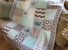 Gray Whale Baby Quilt cozy comfy fun by Lovesewnseams on Etsy, $154.00