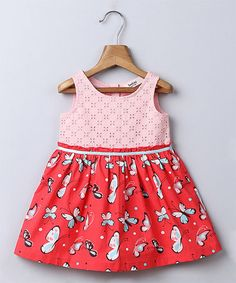 Love this Pink & Red Butterfly A-Line Dress - Infant, Toddler & Girls on #zulily! #zulilyfinds
