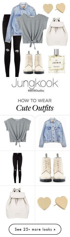 """Cute/Flirty Outfit with Jungkook"" by btsoutfits on Polyvore featuring Levi's, Dr. Martens, Marc by Marc Jacobs, Miller Harris and Kate Spade"