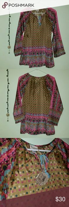 Beautiful boho chic paisley colorful hippy top Brand new with tags from natural life! Super cute hippie style flowy kurta with drawstring at neckline. Thin material ideal for warmish nights.   Note : super flowy! I am 5'1 100 lbs. This small swims on me, sadly. natural life Tops