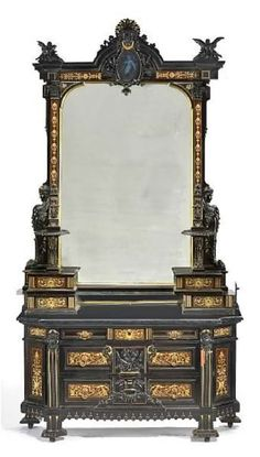 An American Renaissance gilt, carved, inlaid and ebonized, Herter Bros.