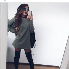 Sweater dress from fall outfit уличная мода, одежда и плать Komplette Outfits, Casual Outfits, Fashion Outfits, Fashion Trends, School Outfits, Boot Outfits, Night Outfits, Fashion Ideas, Fashion Killa