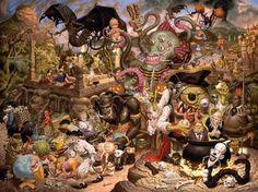 """Todd Schorr, """"A Pirate's Treasure Dream"""", Acrylic on Canvas, 2006"""