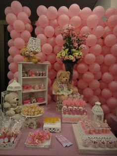 It's a girl baby shower decore Balloon Tower, Balloon Wall, Balloons, Pop Baby Showers, Baby Shower Parties, Party Sweets, Ideas Para Fiestas, Baby Sprinkle, Festival Decorations