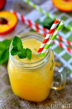 3-Ingredient Coconut Peach Cooler | MomOnTimeout.com