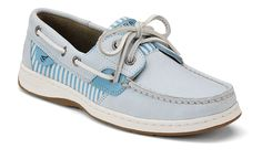Women's Bluefish 2 Eye Boat Shoe | Light blue / seersucker | $85.00