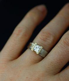 Image of lodestar engagement ring / wedding band set moissanite women's wedding ring 14k gold, palladium
