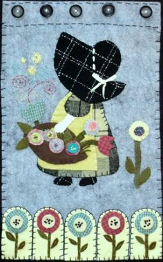 Two of my favorite things (Sunbonnet Sue and Penny Rugs) Wool Applique, Applique Patterns, Applique Quilts, Embroidery Applique, Quilt Patterns, Quilting Projects, Quilting Designs, Sue Sunbonnet, Penny Rug Patterns