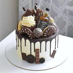 Jack Daniels Theme Cake - Bake a Cake 2019 Alcohol Birthday Cake, 30th Birthday Cakes For Men, Birthday Cake For Boyfriend, Alcohol Cake, Cake Birthday, 21st Cake, Chocolate Birthday Cake For Men, Husband Birthday Cake, Boyfriend Cake