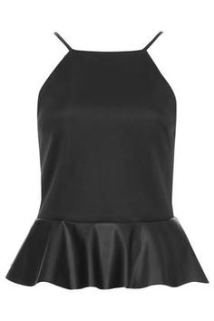 Peplum Top with Faux Leather Frill - Tops - Clothing Casual Outfits, Cute Outfits, Fashion Outfits, Casual Clothes, Summer Clothes, Work Outfits, Leather Peplum, Black Peplum, Fade Styles