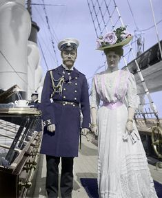 Tsar Nicholas II and Empress Alexandra aboard the royal yacht. That is some hat she has on! Photo from https://www.royalcollection.org.uk/