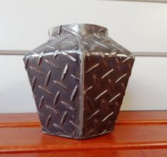 Steel Vase  Medium Size Hexagonal ChequerPlate . by deBurghSteel, $210.00
