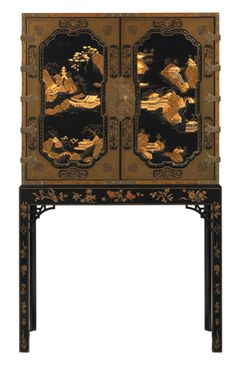 No. 5370-10 GEORGE III ORIENTAL LACQUER ENTERTAINMENT CABINET by Baker Furniture. The George III Oriental Lacquer Cabinet features two paneled black lacquer doors and sides elaborately decorated in a raised gilt and ochre landscape design, its pastoral scene includes pagodas and trees framed by a fine trellis border and stamped cushion molding.